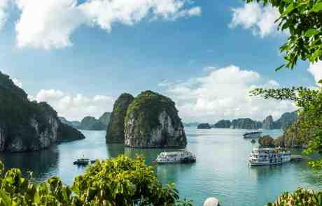 Junk boats floating in Ha Long Bay
