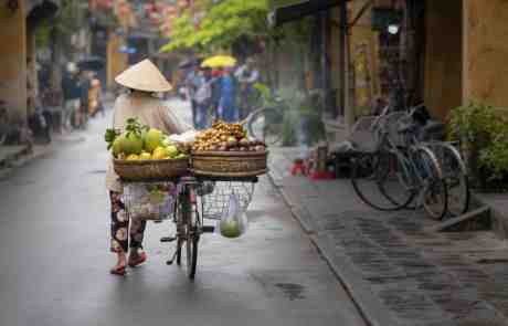 Woman pushing bicycle down road while loaded with fruits and vegetables