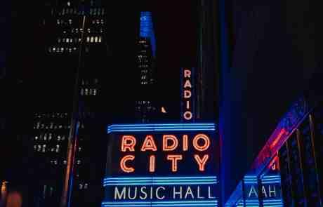 Neon lights of Radio City Music Hall at Night