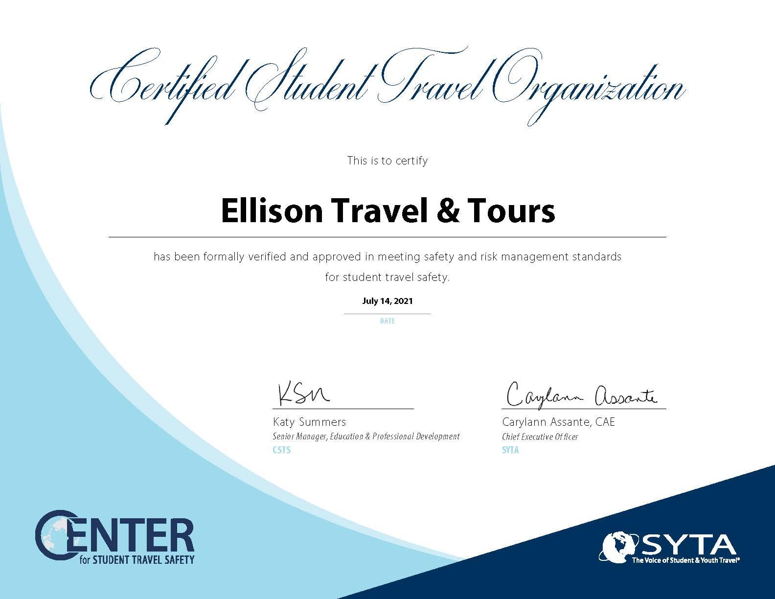 Center Certificate CSTO Ellison