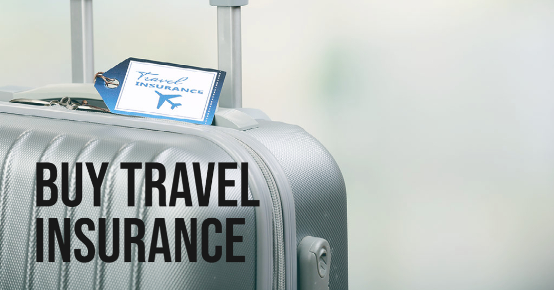 Buy Travel Insurance - Luggage with tag that says luggage insurance